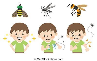misure, insetto, morsi, preventivo, illustrazione, set