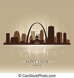 misuri, louis, contorno, santo, ciudad, silueta