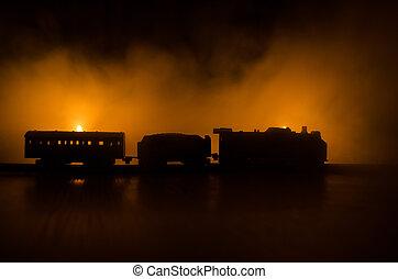 misztikus, ősi, railroad., elbocsát, horror, színhely, gőz, háttér., kiképez, mozgató, éjszaka, narancs, lokomotív, night.