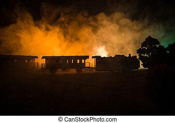 misztikus, hanglejtés, ősi, háttér., elbocsát, horror, gőz, scene., railroad., kiképez, mozgató, éjszaka, ködös, fog., lokomotív, night.