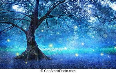 misztikus, tündér, erdő, fa