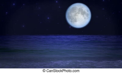 misztikus, tengerpart, hold