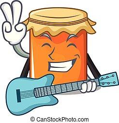 mit, gitarre, marmelade, maskottchen, karikatur, stil