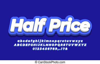 mitad, 3d, precio, texto, azul, diseño