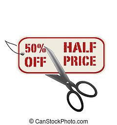 mitad, 50%, de, precio