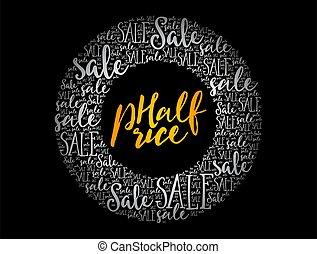 mitad, concepto, nube, precio, círculo, palabra, empresa / negocio