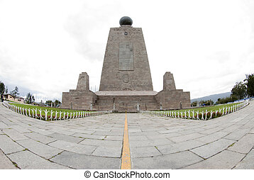 mitad del mundo equator ecuador - west side line monument at...