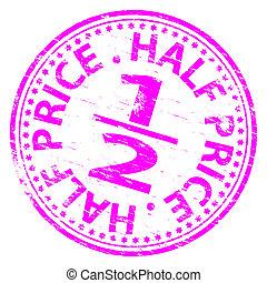 mitad, estampilla, precio