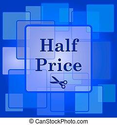 mitad, icono, precio