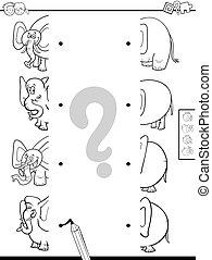 mitades, igual, juego, colorido, elefantes, libro