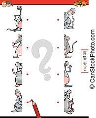 mitades, juego, ratones, igual, caricatura