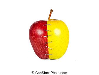 mitades, manzana, contraste