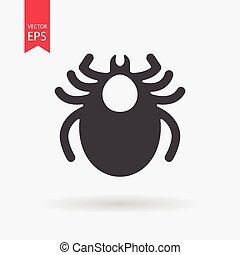 Mite icon vector. Encephalitis tick sign isolated on white background. Flat design. Vector illustration