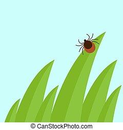 Mite in the tall green grass flat vector illustration, mite hiding in the grass, tick-borne mite color icon, danger tick bug in nature grass, color mite illustration in circle, dangerous tick bug icon