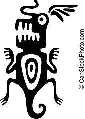 mite, ou, besouro, em, nativo, estilo, vetorial