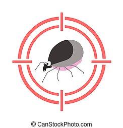 Mite parasite warning sign. Bloodsucking. The tick is red. Tick Allergy. Epidemic. arachnid, acarology, acariasis, Tick-borne encephalitis Lyme disease