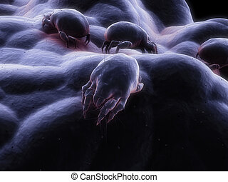 mite scene - 3d rendered close up of a mite