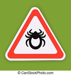 Mite warning sign. Tick vector icon isolated on white. Encephalitis parasite sign on green background