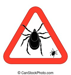 Mite warning sign. Vector illustration of tick warning sign. Bud warning sign. Parasite warning sign. Mite skin parasite vector sign. Mite skin parasite isolated on white.