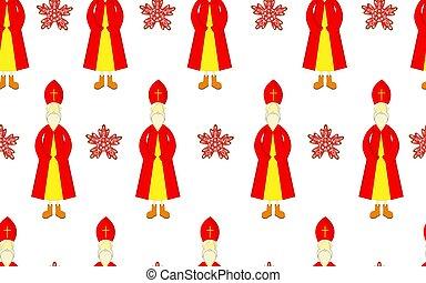 miter., ニコラス, 日, holiday., seamless., 赤, マント, キリスト教徒, st. 。, pattern., ボクシング, children.