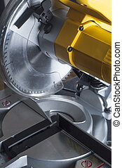miter saw. - Compound miter power saw isolated on a black ...