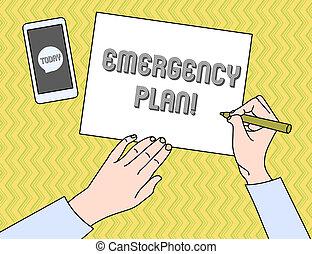 mitigate, nødsituation, firma, fotografi, viser, skade, handlinger, skrift, bemærk, showcasing, potentiale, udvikl, events., plan.