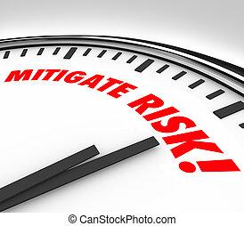 mitigate, verantwoordelijkheid, gevaar, klok, verlagen, gevaar, aansprakelijkheid, tijd