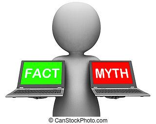 mito, mostrar, laptops, fatos, mitologia, ou, fato