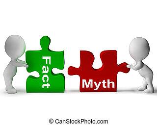 mito, rompecabezas, hechos, mitología, o, hecho,...