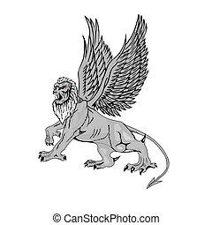 mitologico, grande, vettore, griffin.
