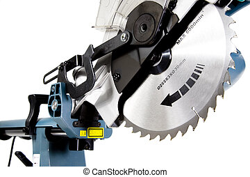 Mitre Saw in White Background, Blade Teeth in Focus