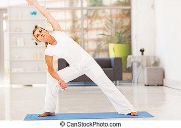 mitte, workout, frau, antikisiert, fitness