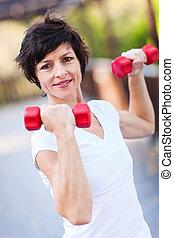 mitte, workout, frau, antikisiert