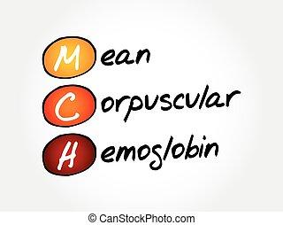 mittel, begriff, -, akronym, corpuscular, hämoglobin, mch