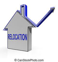 mittel, haus, wohnungswechsel, verschiebung, residency, änderung