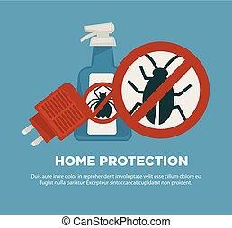 mittel, insekten, plakat, gegen, fördernd, schädlich, schutz, daheim