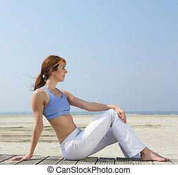 mittelalt, frau entspannung, strand