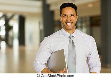 mittelalt, geschäftsmann, mit, laptop-computer