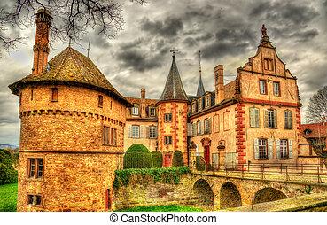 mittelalterlich, frankreich, elsaß, chateau, hofburg, d'...