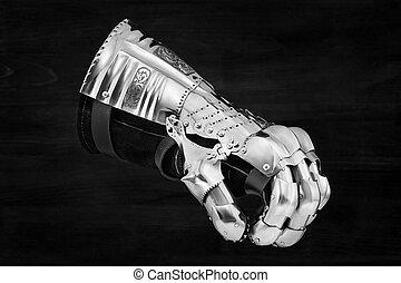 mittelalterlich, metall, handschuh, detail, von, teil, uralt, rüstung