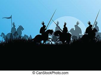 mittelalterlich, ritter, abbildung, feld, silhouetten, vektor, hintergrund, schlacht, reiten, reiter, krieg