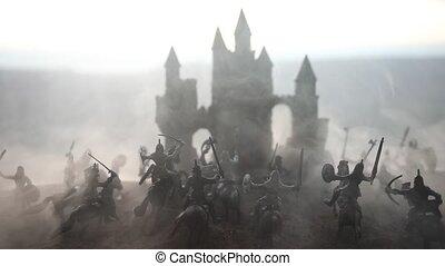 mittelalterlich, schlacht- szene, mit, kavallerie, und,...