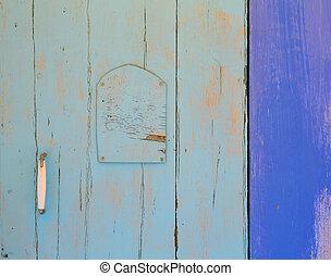 mittelmeer, blaue tür, details, in, balearen
