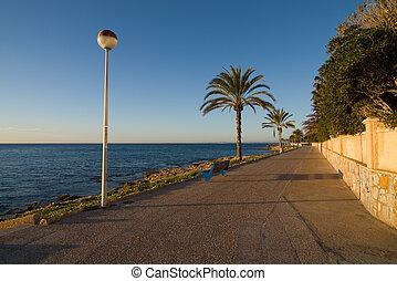 mittelmeer, sandstrand, promenade