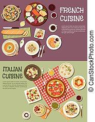 mittelmeerische küche, mit, franzoesisch, italienesche, geschirr