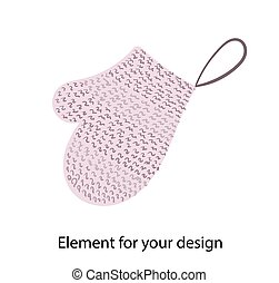 Mitten for washing. Natural bath accessories. Bast. illustration on a white background. Element for your design..