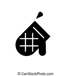 mitten icon, vector illustration, black sign on isolated background