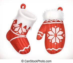 mitten., invierno, calcetín, tejido, 3d, navidad, icono