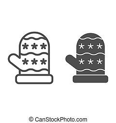 Mitten line and glyph icon. Glove vector illustration isolated on white. Winter outline style design, designed for web and app. Eps 10.