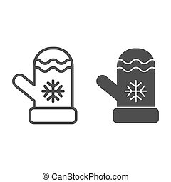 Mitten line and glyph icon. Winter clothes vector illustration isolated on white. Glove outline style design, designed for web and app. Eps 10.